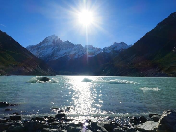Vue sur le Mont Cook (et son glacier?)
