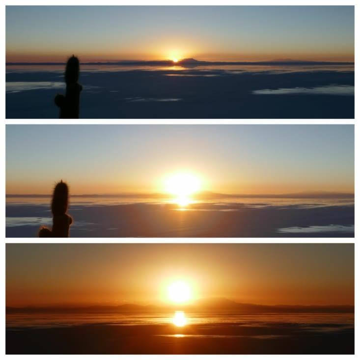 Levé de soleil au Salar de Uyuni