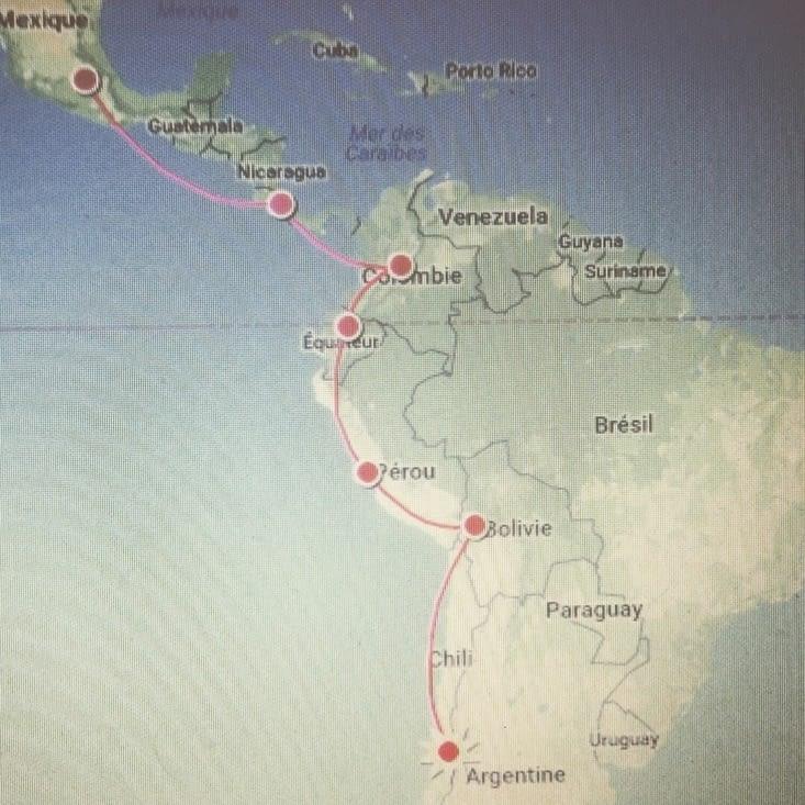Itinéraire de l'Amérique du Sud