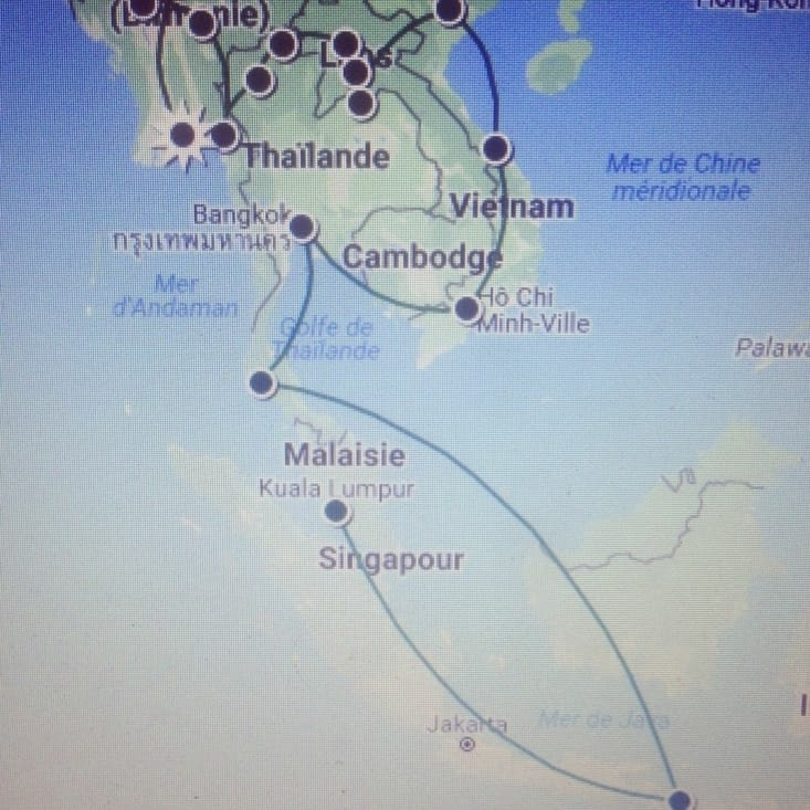 Itinéraire de l'Asie du Sud-Est