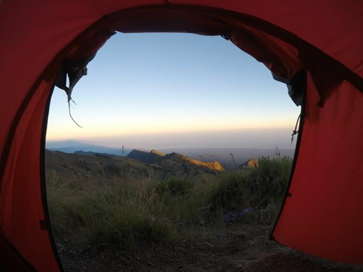 Réveil depuis notre tente