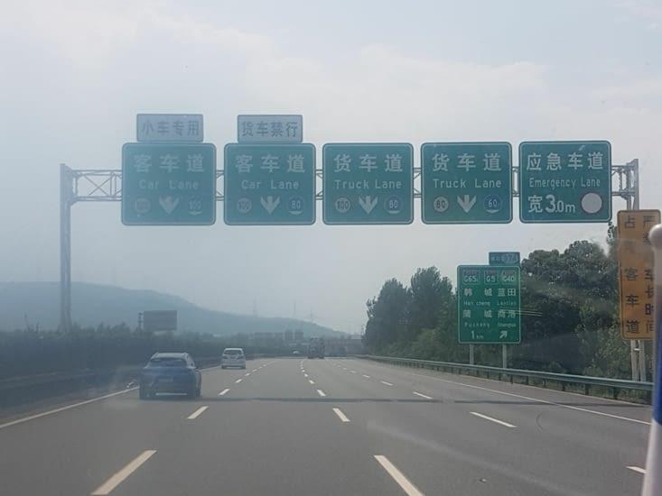 Sur la route il suffit de lire les panneaux pour s'orienter!
