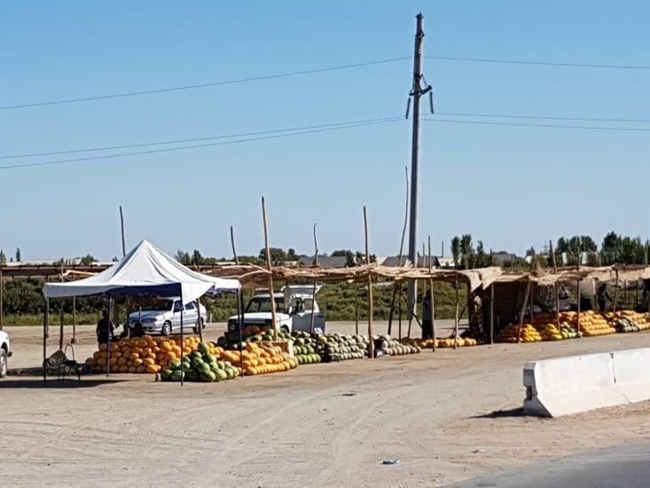 Ici ce sont des melons et des pastèques