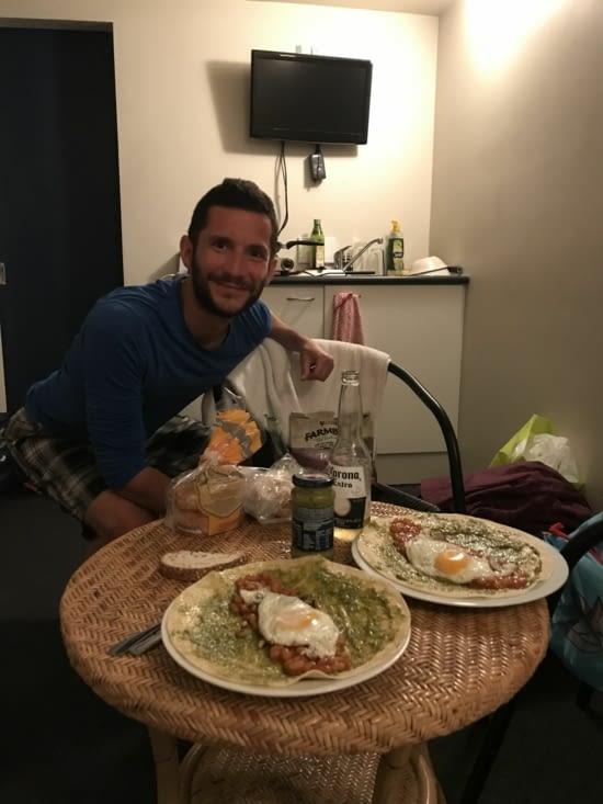 Notre dernier repas pour finir les restes en Nouvelle Zélande