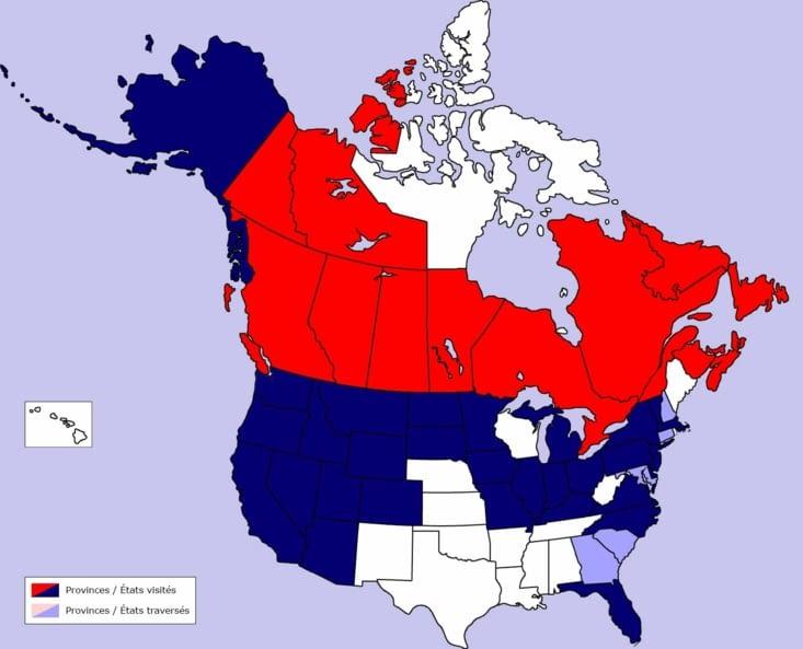 Carte des provinces et États parcourus