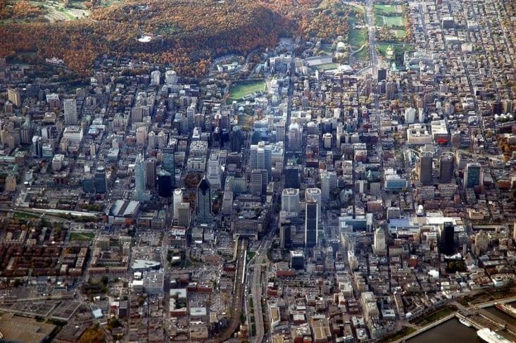 La ville de Montréal vue du ciel