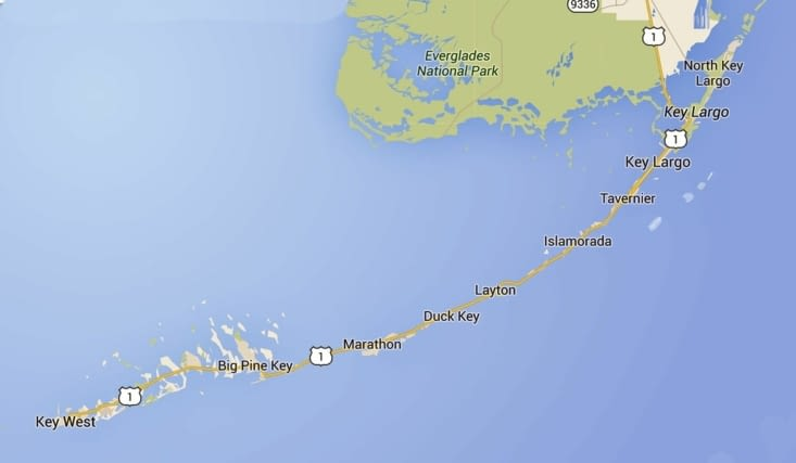 Carte des Florida Keys