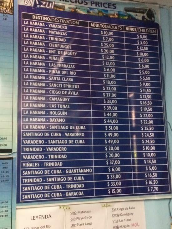 Tableau des destinations et des tarifs de la société Viazul