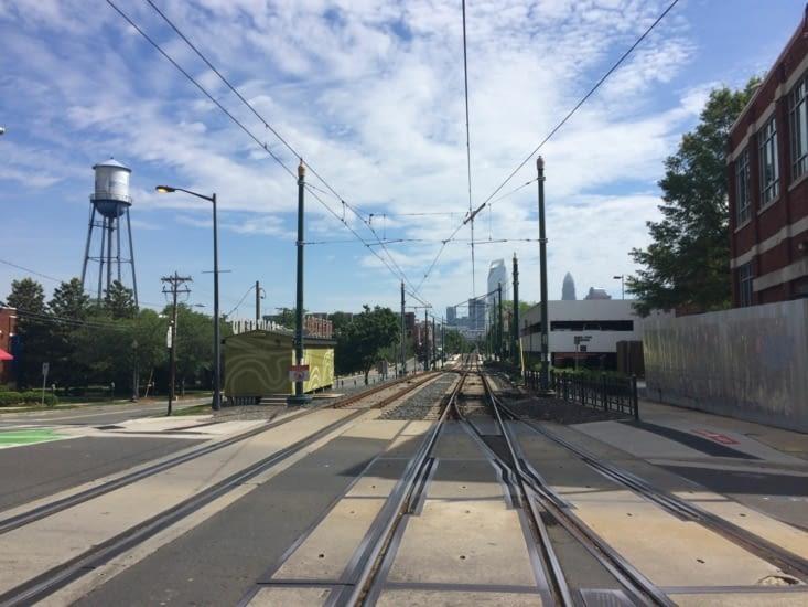 Vue sur le centre-ville de Charlotte depuis Tremont Avenue
