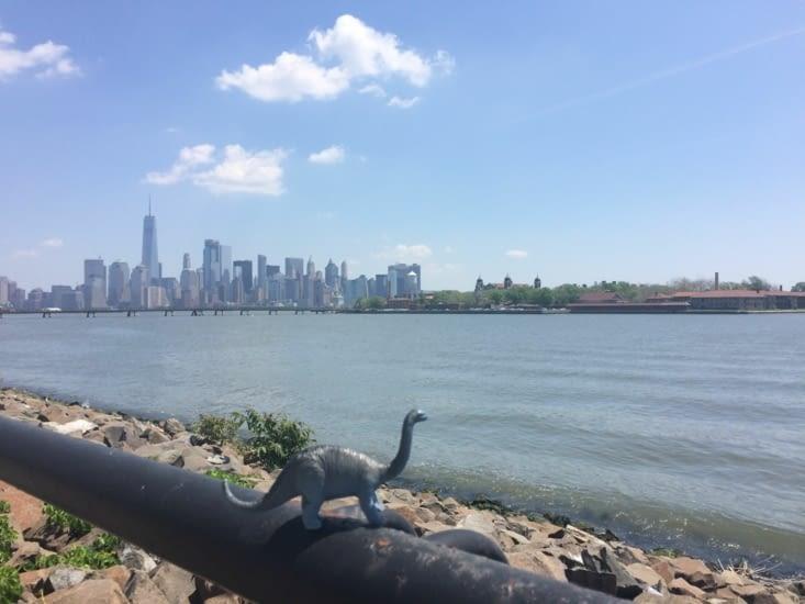 Petit-Pas prend le soleil devant Ellis Island