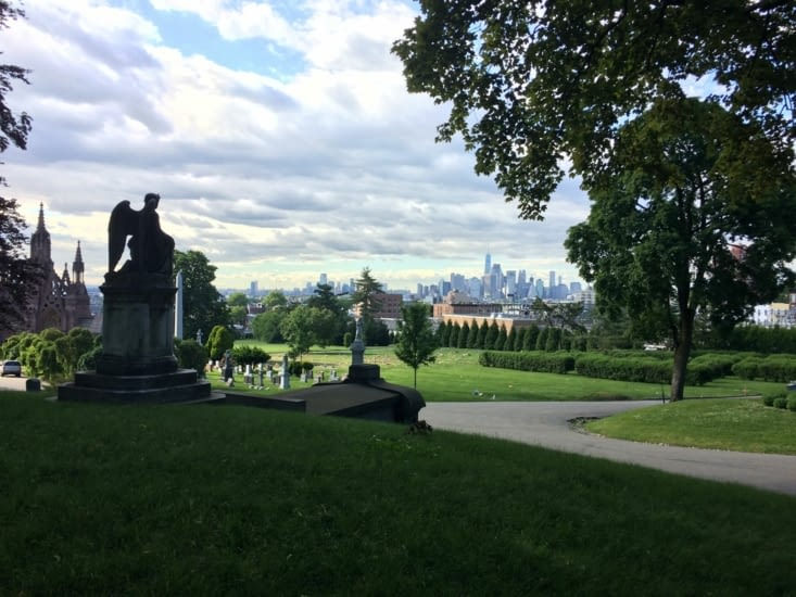 Point de vue sur Manhattan depuis Green-Wood Cemetery