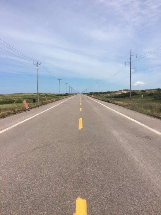La route pour se rendre à l'Île de la Grande Entrée