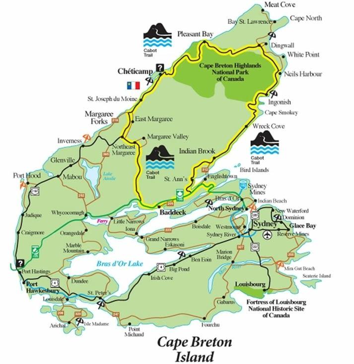 En jaune, le Cabot Trail