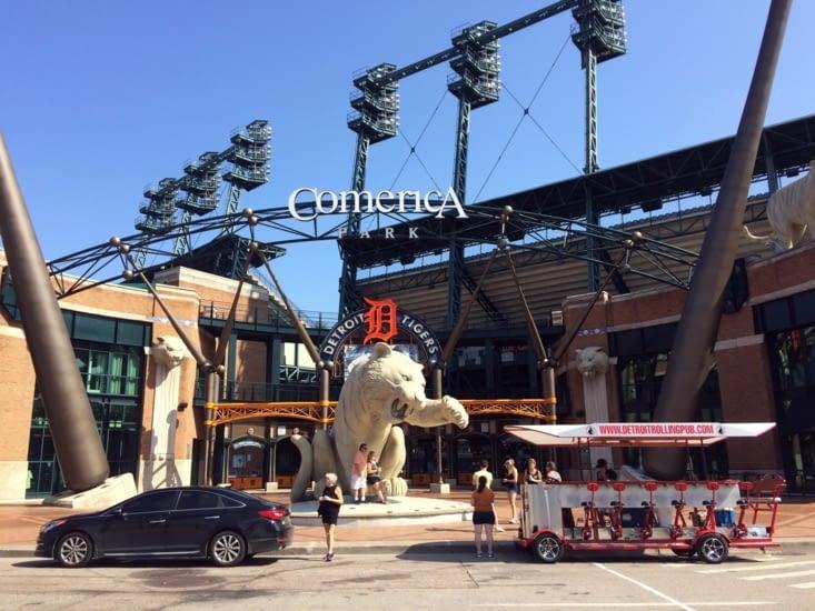L'entrée du Comercia Park, antre des Tigers de Détroit