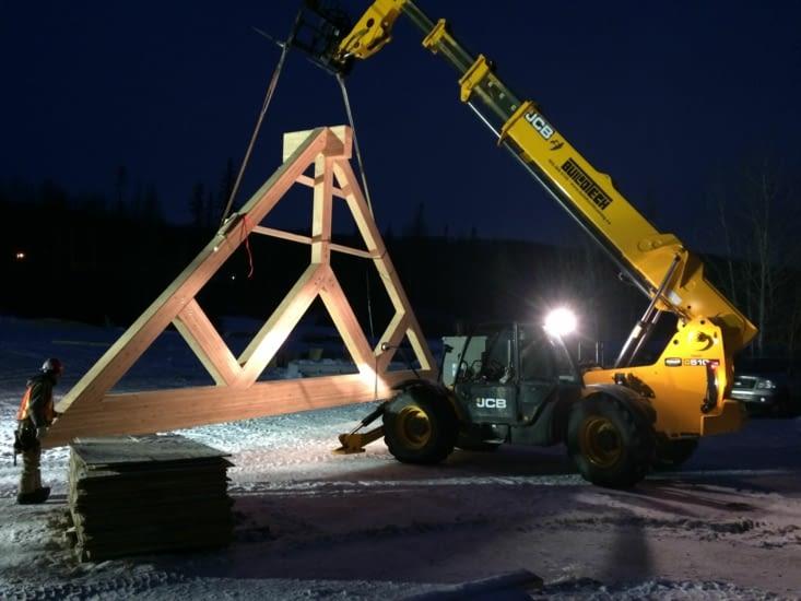Installation des éléments en bois lamellé-collé