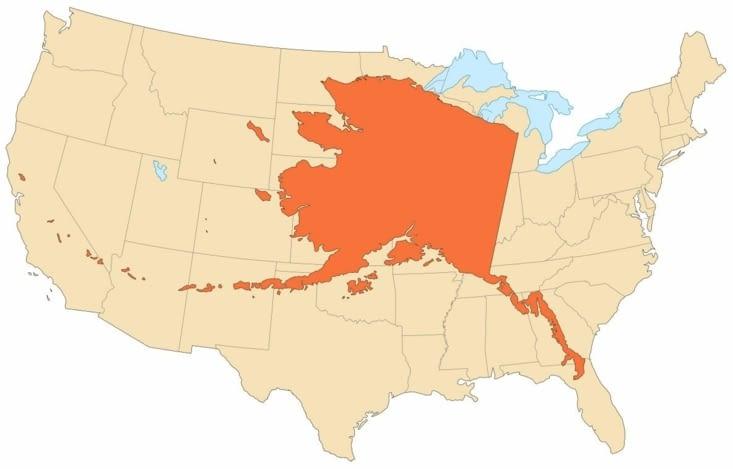 Comparaison de la taille de l'Alaska avec celle des 48 États contigus