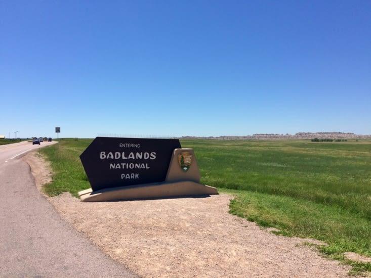Entrée dans le parc national des Badlands