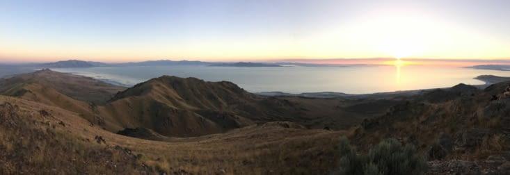 Coucher de soleil sur le Grand Lac Salé depuis Frary Peak