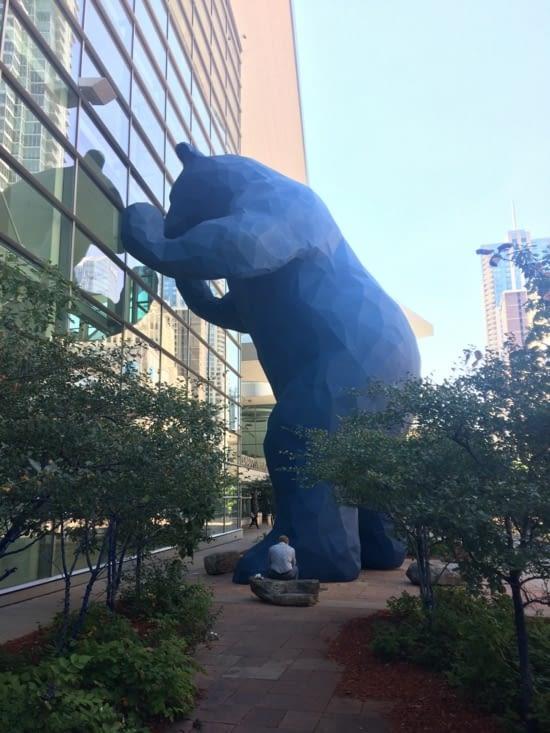 Giant blue bear sculpture