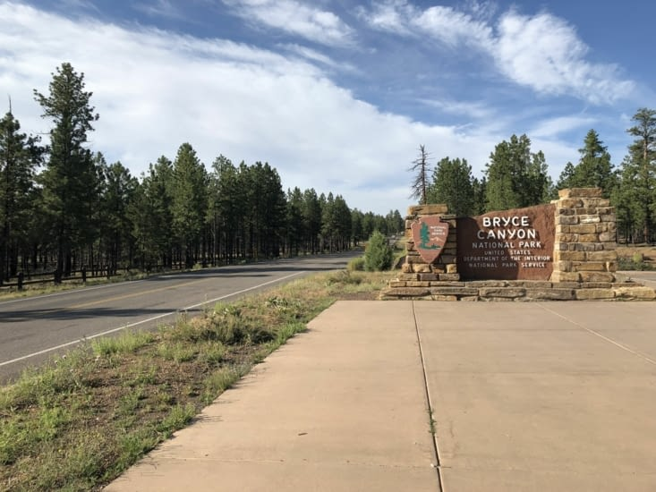 Entrée dans le parc national de Bryce Canyon