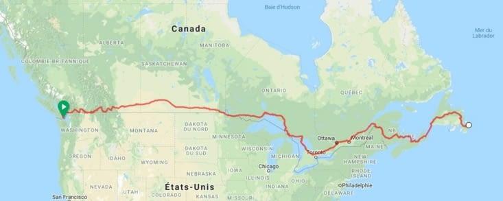 La route empruntée pour la traversée du Canada en vélo