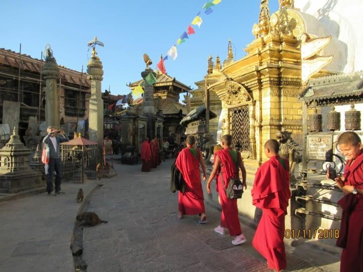 """Jeunes bonzes en """"excursion"""" au stupa"""