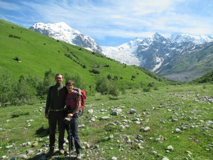 Une pause photo s'impose lorsqu'on arrive plus ou moins au pied du glacier...