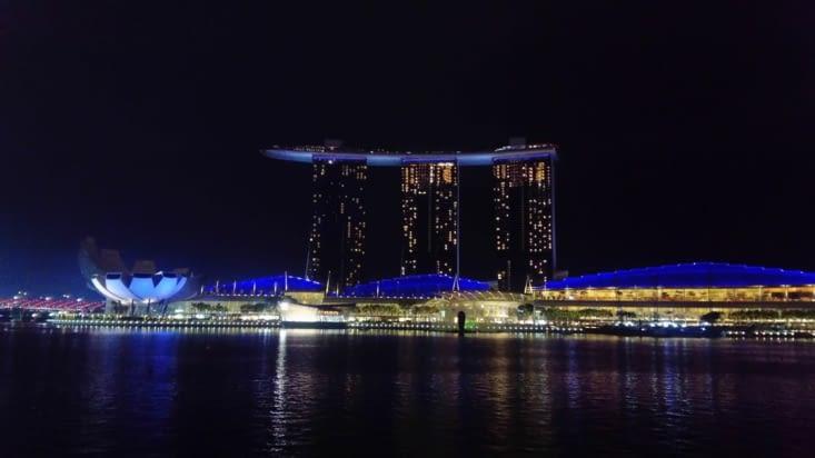 Vue sur Marina Bay la nuit