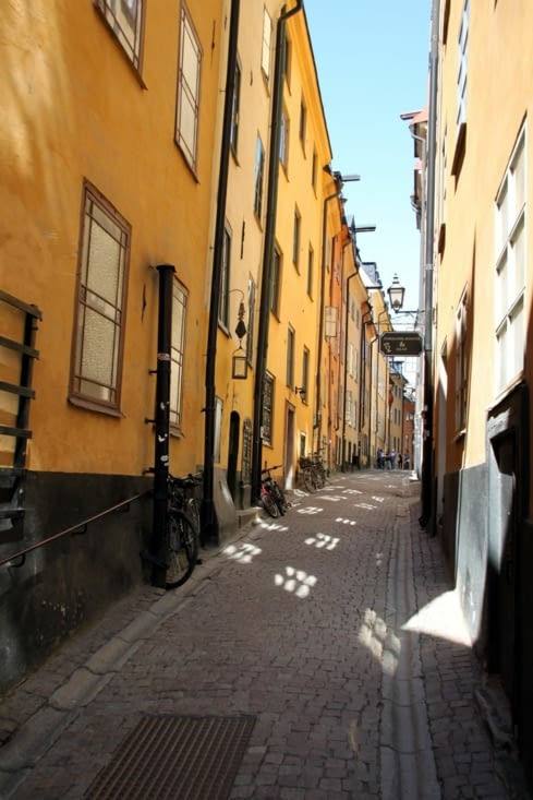 Narrow streets of Gamla Stan, the old town of Stockholm.
