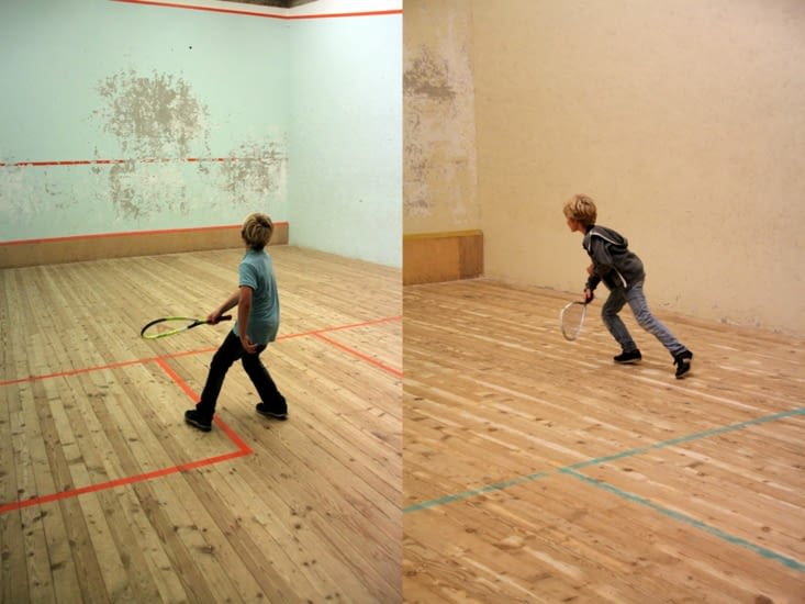 The daily squash session.