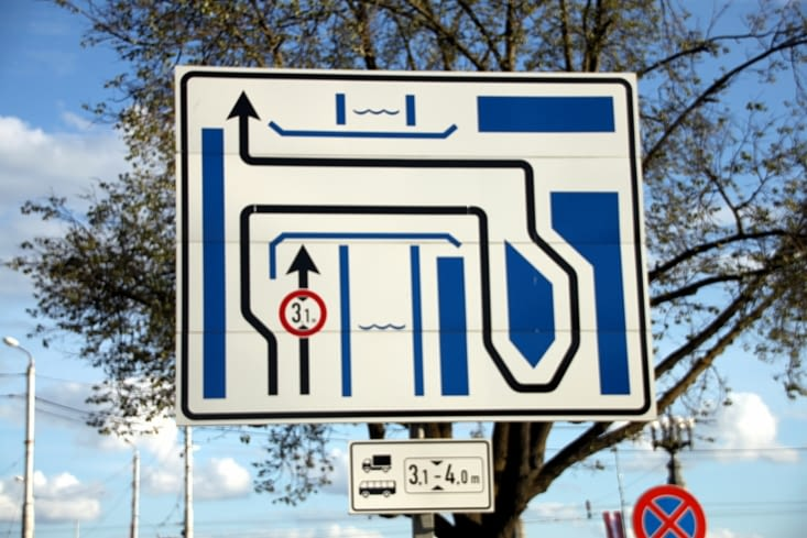 When you see this kind of road signs, you are quite glad having taken the bus...