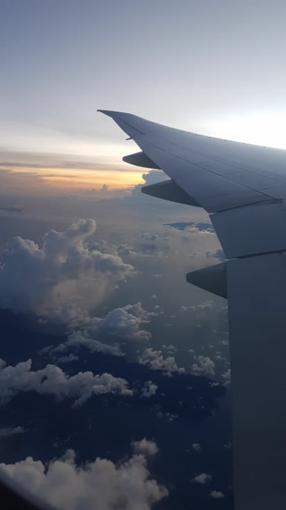 Coucher de soleil depuis l'avion