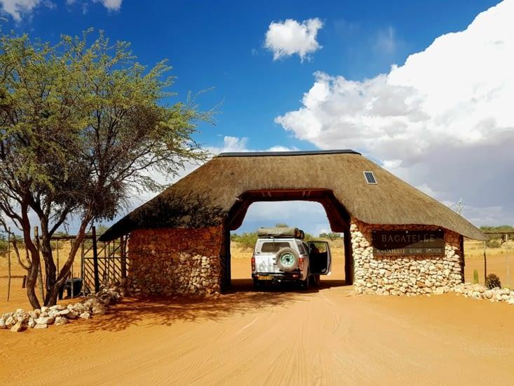 Arrivée au Bagatelle Kalahari Game Ranch