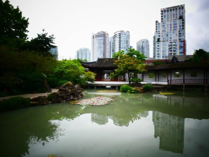 Parc asiatique au milieu des buldings