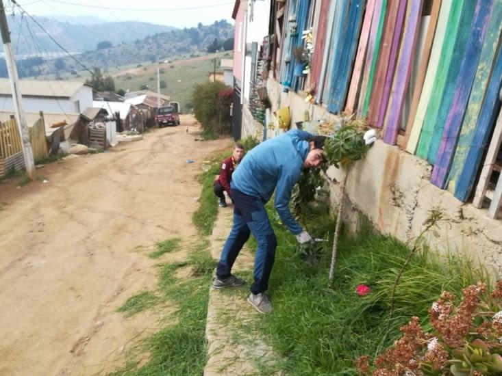 Ianis et Adrien ont taillé les herbes hautes devant le local.