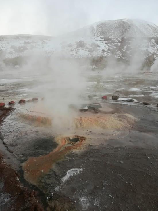Les bactéries de l'eau donnent cette couleur autour du geyser.
