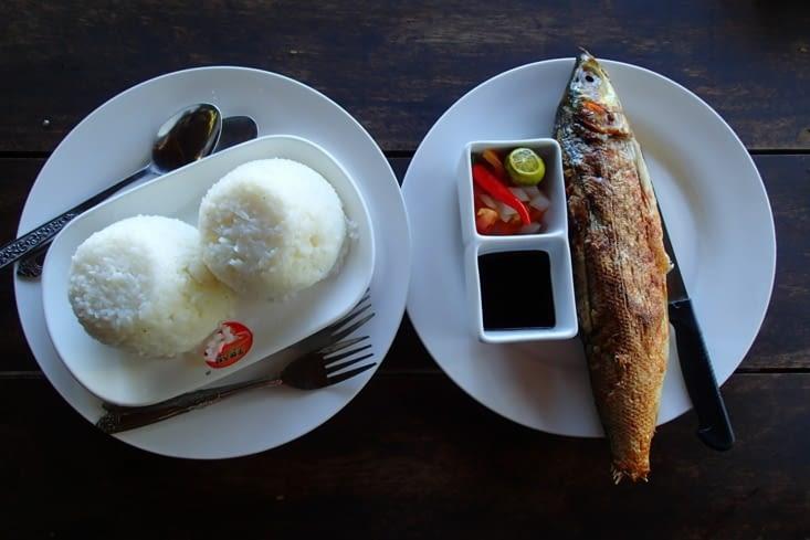 Bon le repas c'est pas trop ça ? ! Mais on moins c'est du poisson fraîchement pêché.