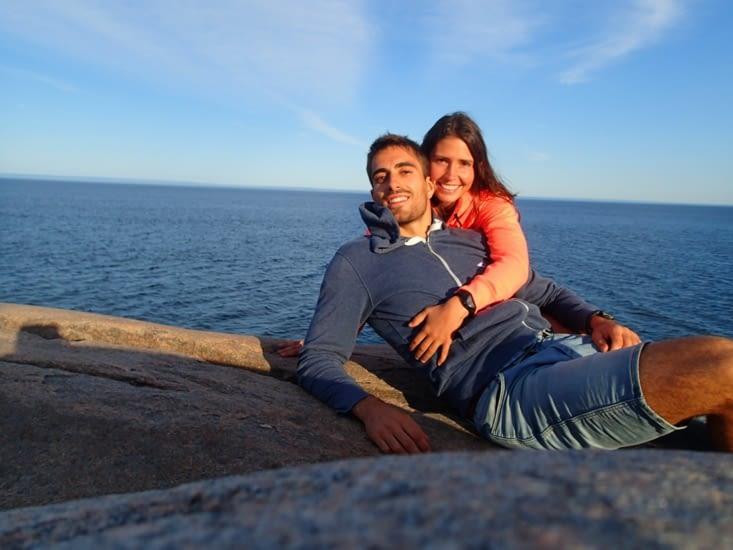 Couché de soleil sur le fleuve St-Laurent mais pas de baleine à l'horizon...