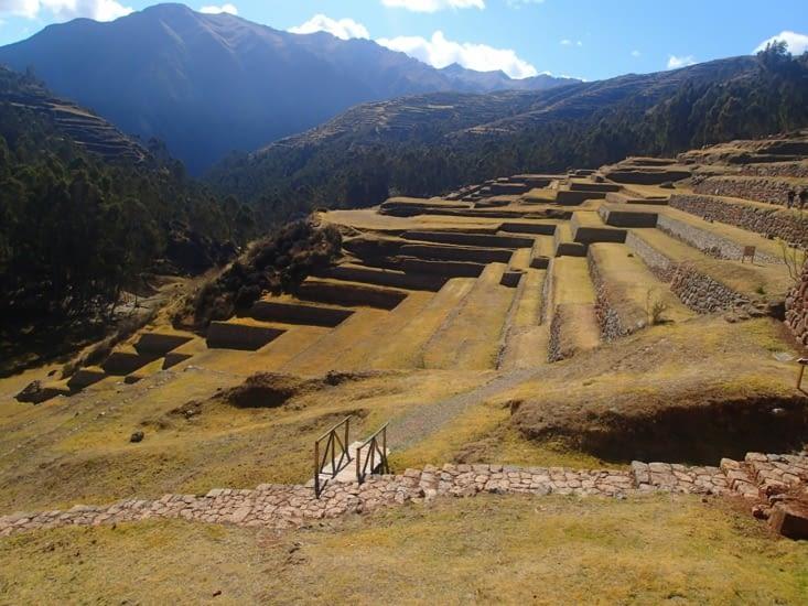 Terrasses de support pour stabiliser les flancs de la montagne