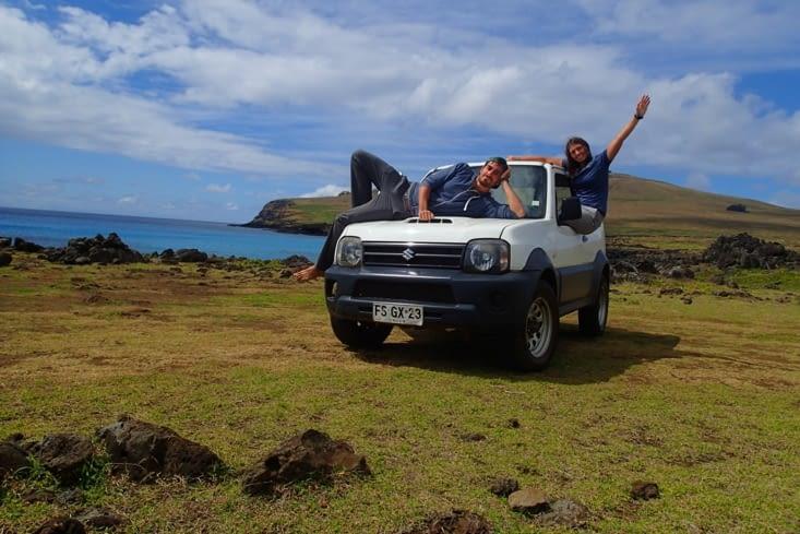 2ème jour, on se lève pour faire le tour de l'île au volant de notre bolide !