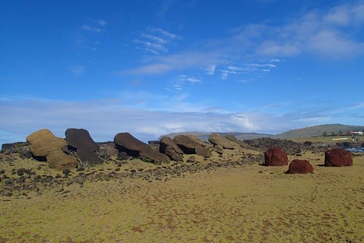 """Hanga Te'e. Site non restauré avec les moaï encore couchés et leurs """"pukao"""" sur le côté."""