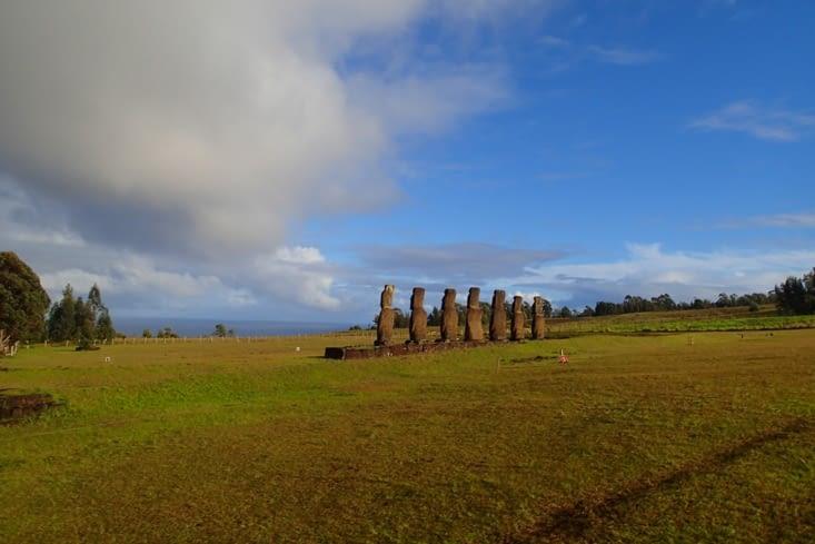 3ème jour, direction Ahu Akivi. C'est le seul site où les moaï sont tournés vers l'océan.