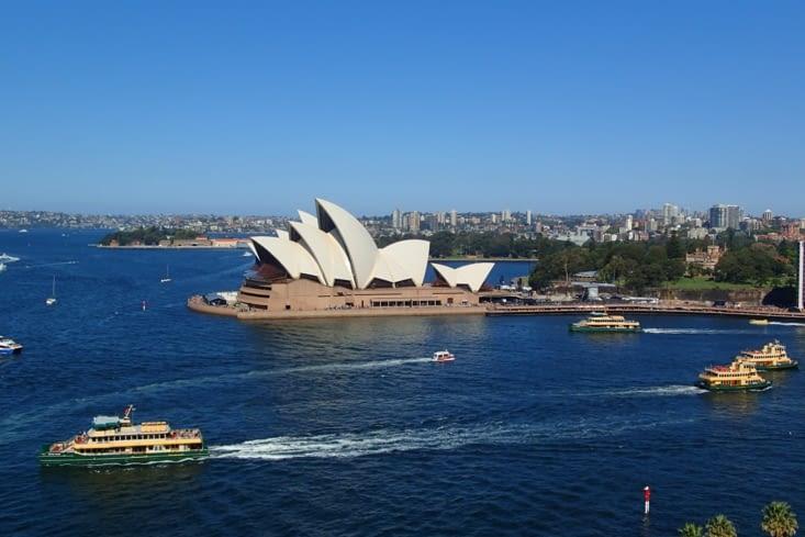 L'opéra depuis le Harbour Bridge. On dirait vraiment un voilier, trop beau !