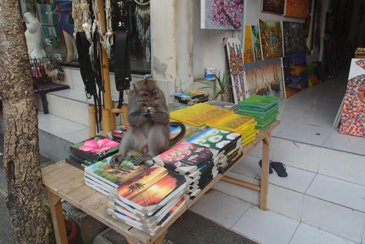Et toi qu'est ce que tu fais là ? Tranquille assis sur les tableaux à vendre.