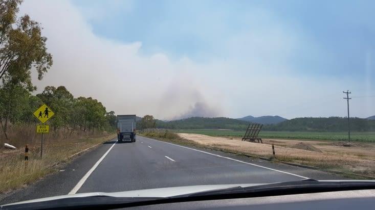Dégagement de fumée suite aux feux de bush