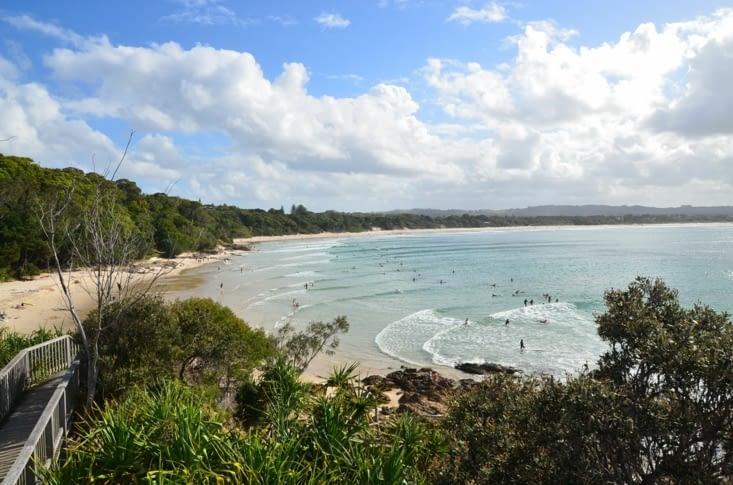 Vue sur la plage de Byron Bay