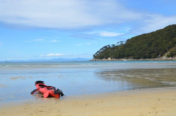 Notre kayak à la plage de Bark Bay, notre point de départ
