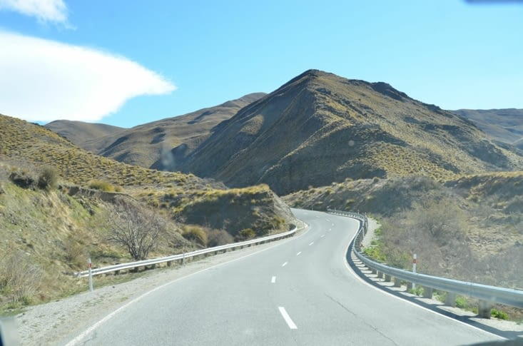 La route entre Wanaka et Queenstown