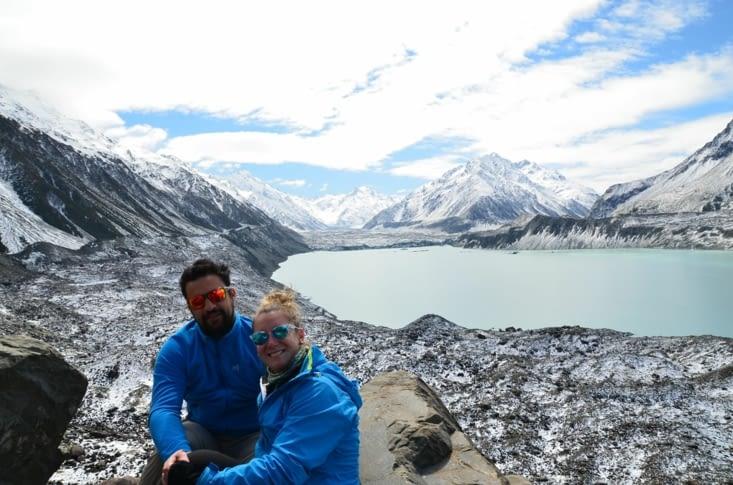 Lac Tasman et Mont Cook sur la gauche !