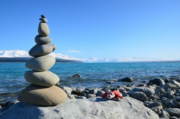 Le lac Pukaki notre lieu de camping et le Mont Cook au fond !